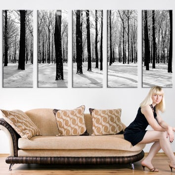 Grayscale Forest and Snow Large Wall Art Print, Forest Canvas Print, Forest and Winter Art Canvas Print, Wall Art Canvas Print 5 Panel