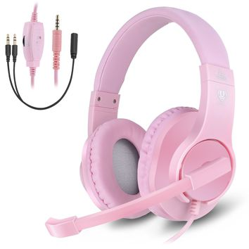 Anksono Gaming Headset for Xbox One, PS4, Nintendo Switch, 3.5MM Wired Over-ear Headphone with Microphone and Volume Control for PC, Laptop, iPad, Cell Phone - PINK