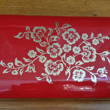 Vintage Red Patent Leather Mele Travel Jewelry Case With Gold Flower Detail Organization Storage Display