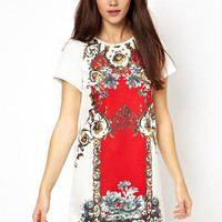 White Floral Print Chiffon Short Sleeve Mini Shirt Dress