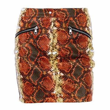 Python Snake Print High Waist Mini Skirt