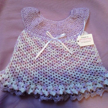 Crochet Layette/Baby Easter Dress with Lining