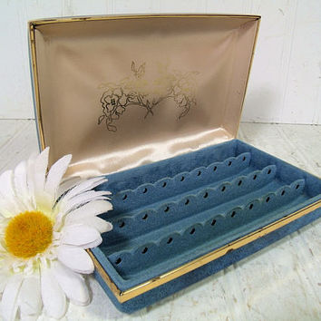 Retro Denim Look Blue Vinyl Clam Shell Travel Jewelry Case - Cream Satin & Turquoise Velveteen Lining - Vintage Pierced Earrings Storage Box