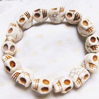 white Turquoise skull bracelet Day of the death by qizhouhuang
