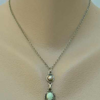 Faux Turquoise Sterling Silver Drop Pendant Necklace Native American Style Vintage Jewelry