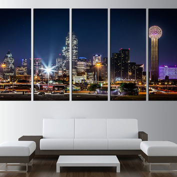 Dallas wall art canvas, Dallas skyline wall art, extra large wall art, large Dallas art, dallas skyline canvas wall art print modern t354
