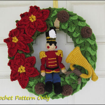 Nutcracker Toy Soldier Christmas Wreath - CROCHET PATTERN