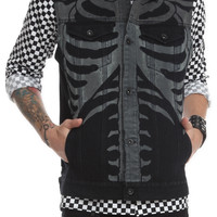 RUDE Black Rib Cage Hooded Denim Vest