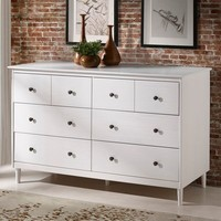 Traditional White Solid Wood 6 Drawer Dresser