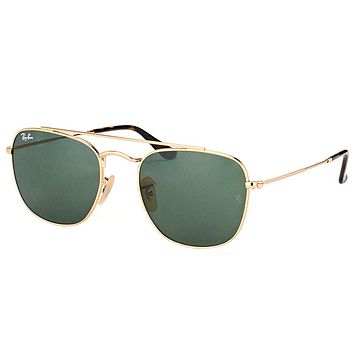 New Ray-Ban RB 3557 001 54mm Gold Metal Square Sunglasses Green Lens