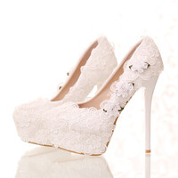 New arrival white flowers lace bridal shoes high heel round toe fashion women's wedding shoes PUMPS free shipping