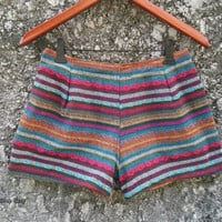 Tribal Shorts Boho Woven Ikat Print Aztec Stripes Hippies Clothing Ethnic Bohemian Handwoven Unique Women Clothes Beach Summer Spring