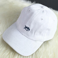 White Fish Embroidered Baseball Cap Hat + Nice Gift Box