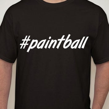 Mens Black Tshirt. #paintball. Hashtag tshirt for men.sports t-shirt. sports. paintball. mens clothing. mens t-shirt. mens tees.