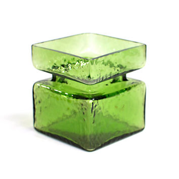 "Helena Tynell ""Pala"" For Riihimäki Glass / Riihimäen Lasi - Large Square Green Art Glass Vase, Finnish Design - Vintage Home Decor"