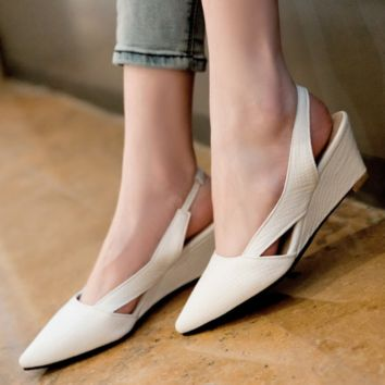 Pointed Toe Sandals Wedges Slingbacks Women Shoes
