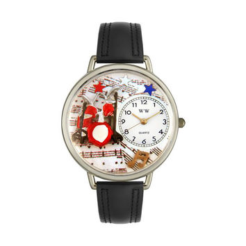 Whimsical Watches Designed Painted Drums Black Padded Leather And Silvertone Watch