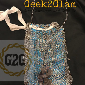Chainmail Tarot Bag Stainless Steel and Silver Plated with White Silk Draw String, Amethyst Moon, and Crystal Falling Stars purse handbag