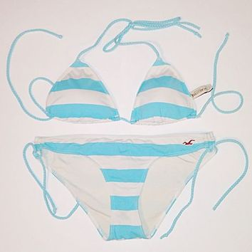 Hollister blue white striped string bikini hco swim swimsuit top bottom