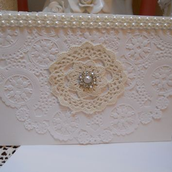 Greeting Card for all Occasions, heavy card stock, Baker's Doily, handmade white, ivory, pearl, bling,