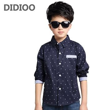 Boys  Long Sleeve Turned-Down Collar Shirts For Boys Cotton Children Clothes Spring Kids School Uniforms 2 6 8 10 12Years