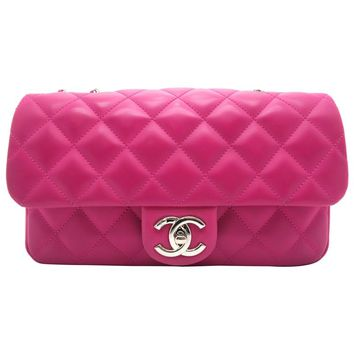 Chanel Deep Pink Quilted Coated Leather Gold Metal Chain Shoulder Flap Bag