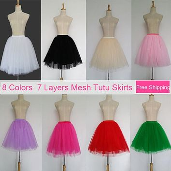 Tulle Skirts Womens 7 Layers High Quality Summer Womens Adult Tutu Skirt Faldas Saias Femininas Pleated Midi Skirts