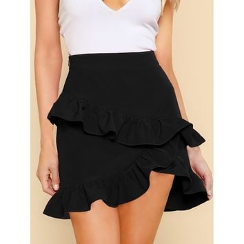 Asymmetric Layered Ruffle Skirt
