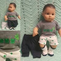 "Baby Doll Clothes to fit 15 inch baby doll BOY ""Hoppin' Frogs"" 15 inch playset top socks pants shorts frogs M2"