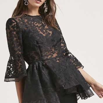 Embroidered High-Low Top