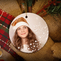 Snowflakes & Magic Custom Photo Personalized Christmas Ornament!