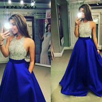 Honey Qiao Prom Dresses 2017 Royal Blue Satin Beading Halter With Pocket Open Back Floor Length Sexy Formal Evening Gowns
