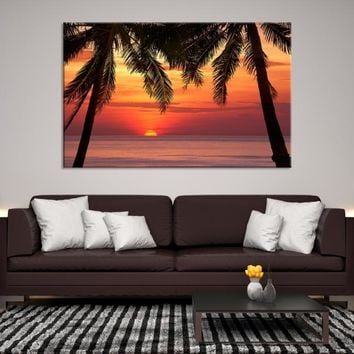 93837 - Red Sunset in the middle of the Trees, Sea Wall Art Large Canvas Print