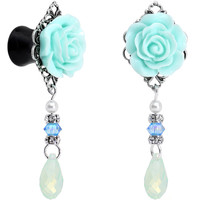 0 Gauge Acrylic Aqua Rose Plug Set Created with Swarovski Crystals