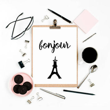 Eiffel tower decoration, Paris bedroom decor, Paris home decor, Eiffel tower wall decor, Wall art printable, Bonjour sign, French poster PDF
