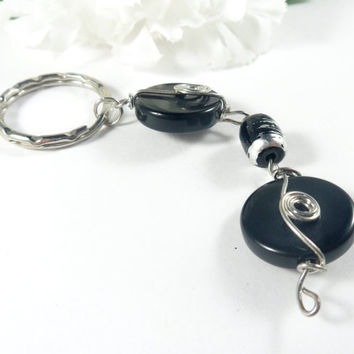 Black Keychain, Boho Chic Beaded Keychain,  Wire Wrapped Key Holder Boho Key Chain, Key Organizer Key Ring, Car Accessories Gifts for Her