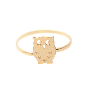 Handcrafted Brushed Metal Kitsch Owl Ring