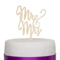 Mr & Mrs Wooden Wedding Cake Topper