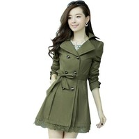 Partiss Women Double Breasted Lace Hem Trench Coat, M, Army Green