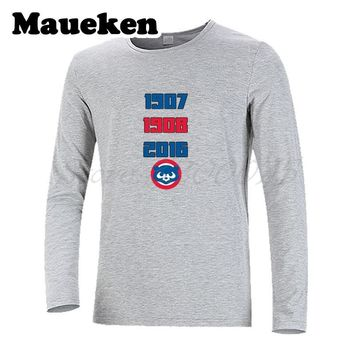 Men Winter Amazing Inspiring World Series Title Chicago T-Shirt Long Sleeve Cubs Men's 1907 1908 2016 Three times W1125003