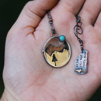 Lone Tree Necklace. Shadow Box Necklace. Native American Quote. Blue Moon Necklace. Nature Mountain Landscape Necklace Inspirational Jewelry