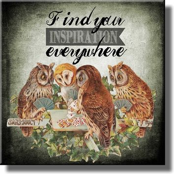 Find Your Inspiration Everywhere Owls Picture on Stretched Canvas, Wall Art Décor, Ready to Hang