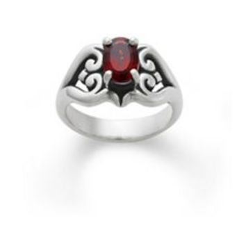 Scrolled Heart Ring with Garnet | James Avery