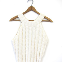 Natural White Knit Shell Top Cable Knit Sleeveless Sweater Top Preppy Cream Cropped Cotton Tank Top Chunky Knit Sweater Tank Small Vintage
