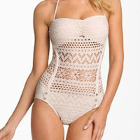 Crochet Lace Halter Swimsuit