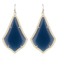 Kendra Scott Alex Gold Navy Cats Eye Earrings