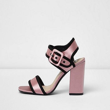 Pink satin block heel sandals
