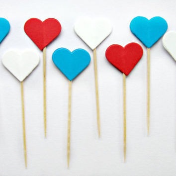 10 American Heart Cupcake Toppers -  4th of July, Independence Day, wedding, engagement, birthday, baby shower, tea party