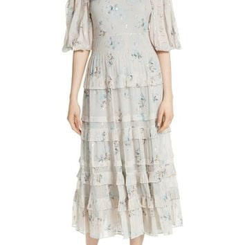 Rebecca Taylor Metallic Faded Floral Midi Dress | Nordstrom