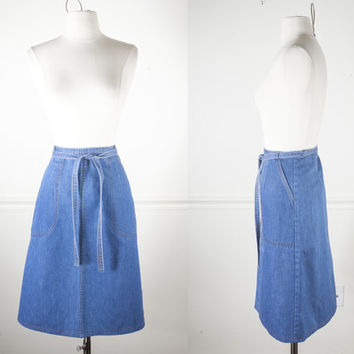Vintage Denim WRAP Skirt | Denim Skirt Blue Skirt High Waisted Skirt MIDI Skirt Retro Skirt Boho Chic 70s Skirt 80s Skirt Blue Jean Skirt